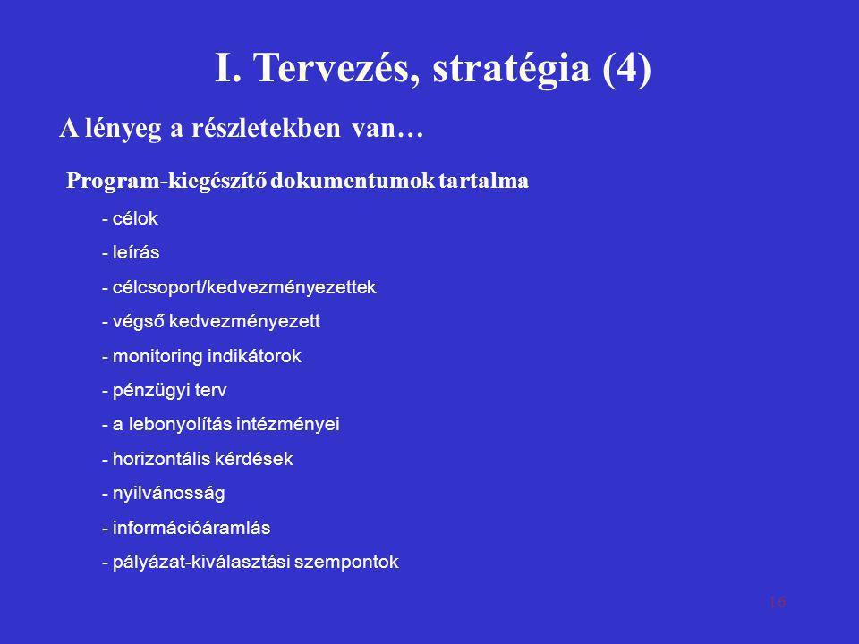I. Tervezés, stratégia (4)