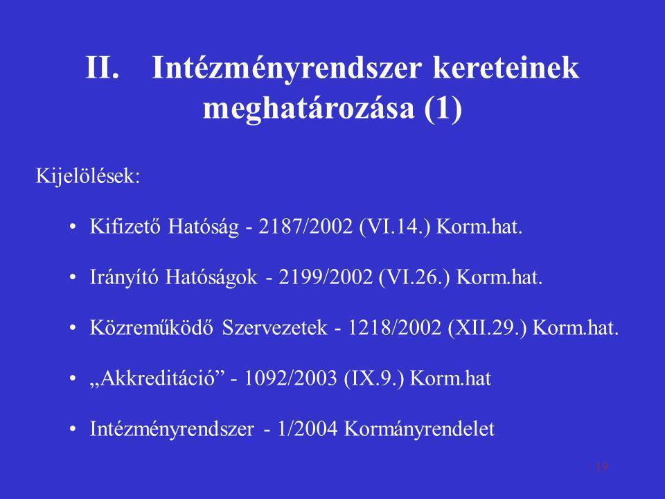 II. Intézményrendszer kereteinek meghatározása (1)