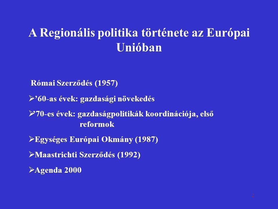 A Regionális politika története az Európai Unióban
