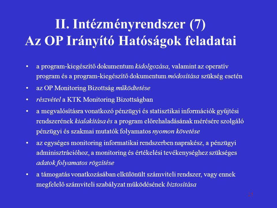 II. Intézményrendszer (7) Az OP Irányító Hatóságok feladatai