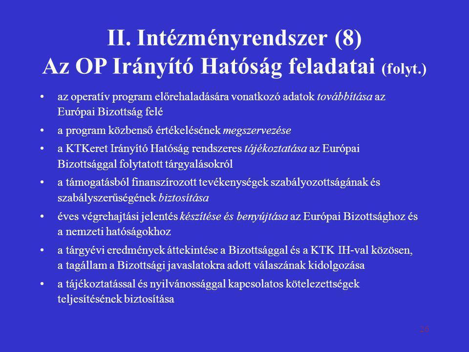 II. Intézményrendszer (8) Az OP Irányító Hatóság feladatai (folyt.)