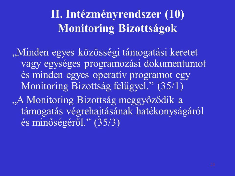 II. Intézményrendszer (10) Monitoring Bizottságok