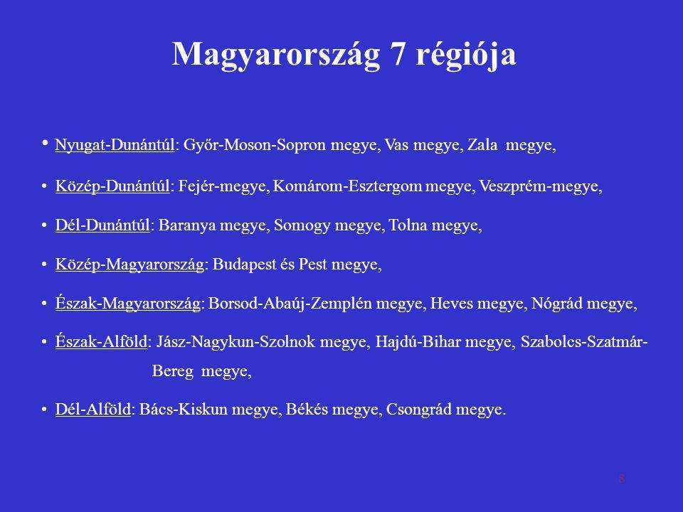 Magyarország 7 régiója Nyugat-Dunántúl: Győr-Moson-Sopron megye, Vas megye, Zala megye,