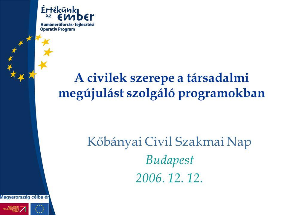 A civilek szerepe a társadalmi megújulást szolgáló programokban