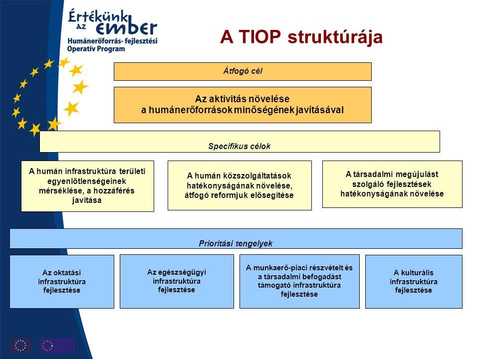 A TIOP struktúrája Átfogó cél. Az aktivitás növelése a humánerőforrások minőségének javításával. Specifikus célok.