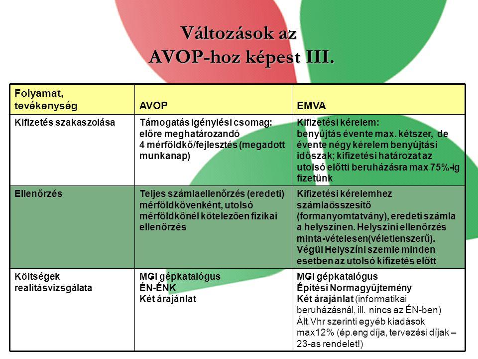 Változások az AVOP-hoz képest III.