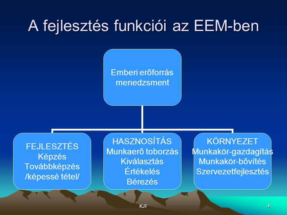 A fejlesztés funkciói az EEM-ben