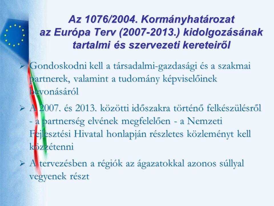 Az 1076/2004. Kormányhatározat az Európa Terv (2007-2013