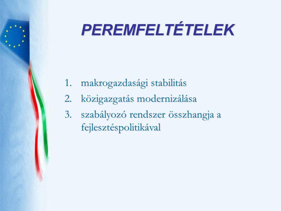 PEREMFELTÉTELEK makrogazdasági stabilitás közigazgatás modernizálása