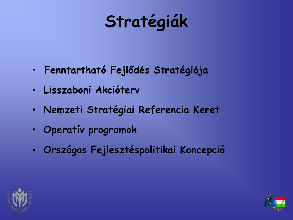 Stratégiák Fenntartható Fejlődés Stratégiája Lisszaboni Akcióterv