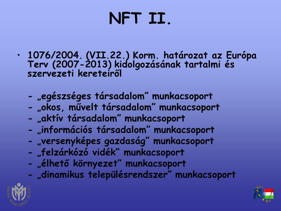 NFT II. 1076/2004. (VII.22.) Korm. határozat az Európa Terv (2007-2013) kidolgozásának tartalmi és szervezeti kereteiről.