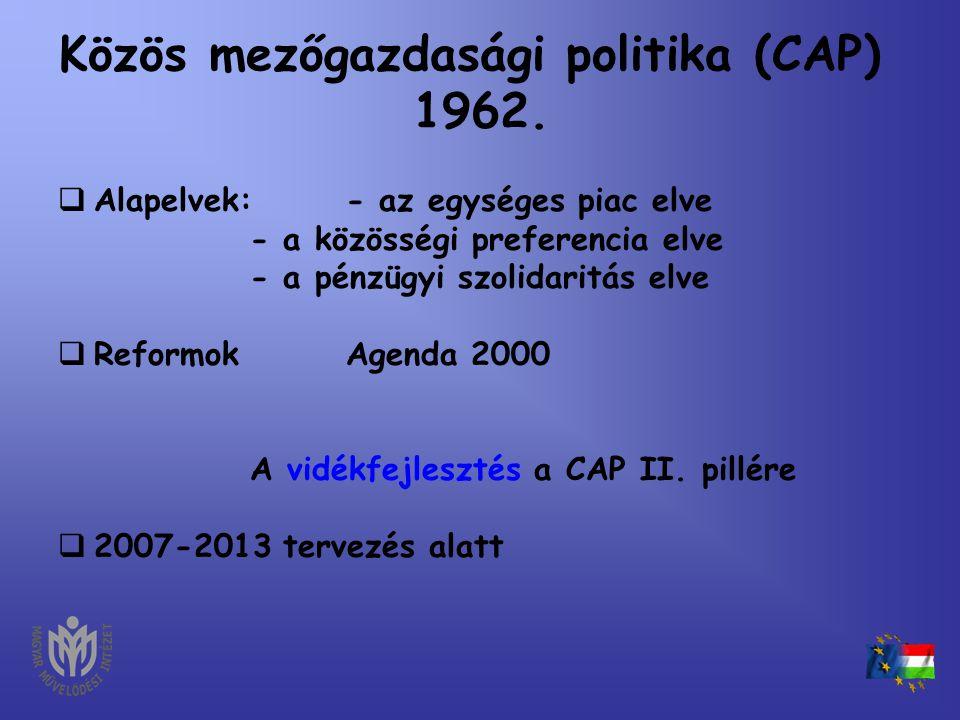 Közös mezőgazdasági politika (CAP) 1962.