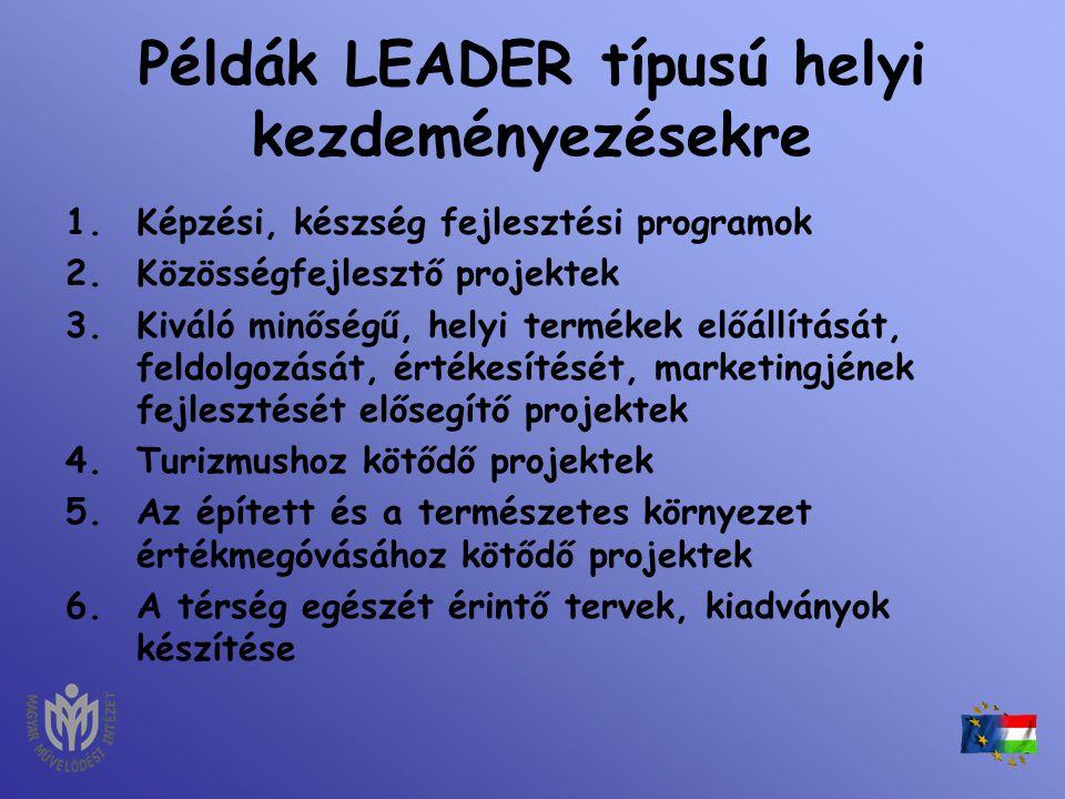 Példák LEADER típusú helyi kezdeményezésekre