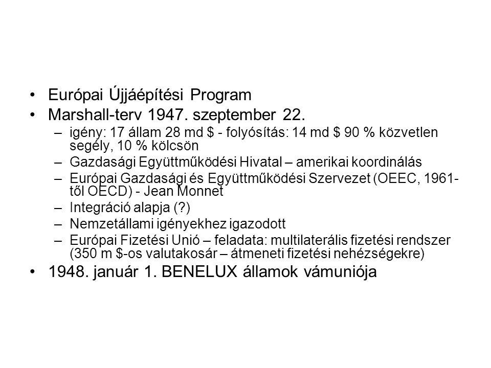 Európai Újjáépítési Program Marshall-terv 1947. szeptember 22.