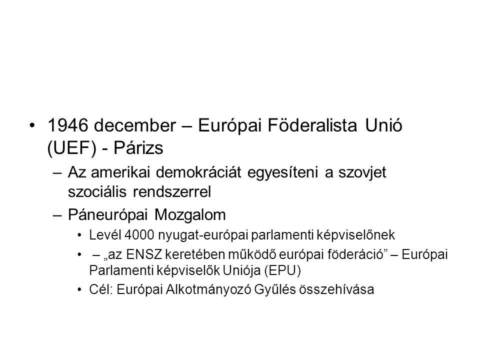 1946 december – Európai Föderalista Unió (UEF) - Párizs