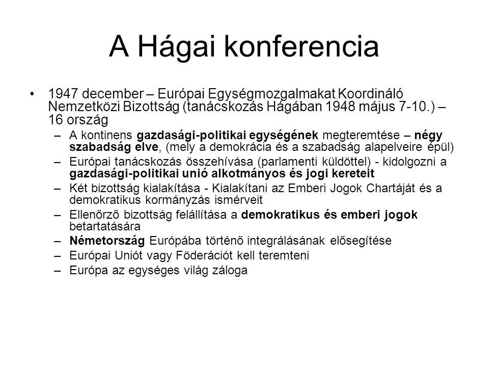 A Hágai konferencia 1947 december – Európai Egységmozgalmakat Koordináló Nemzetközi Bizottság (tanácskozás Hágában 1948 május 7-10.) – 16 ország.