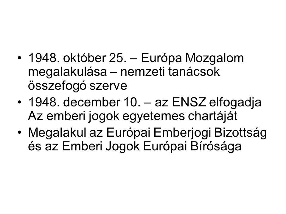 1948. október 25. – Európa Mozgalom megalakulása – nemzeti tanácsok összefogó szerve