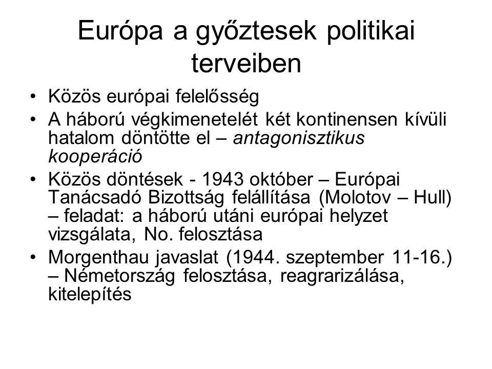 Európa a győztesek politikai terveiben