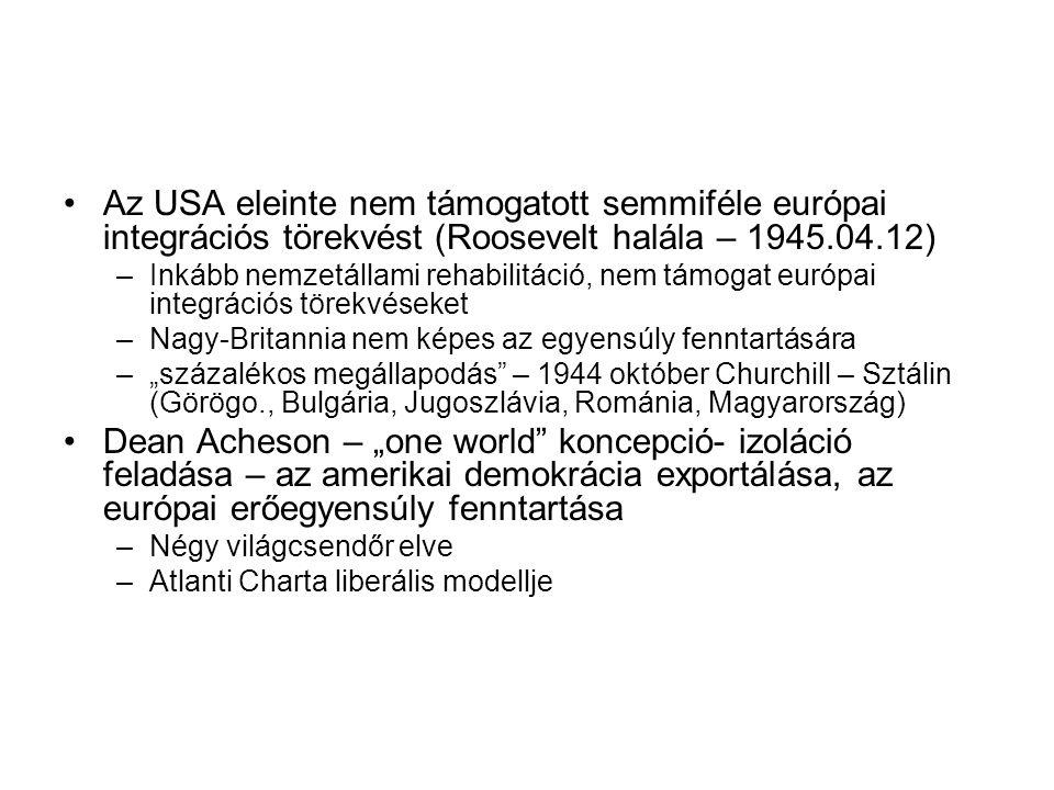 Az USA eleinte nem támogatott semmiféle európai integrációs törekvést (Roosevelt halála – 1945.04.12)