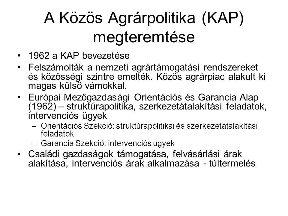 A Közös Agrárpolitika (KAP) megteremtése