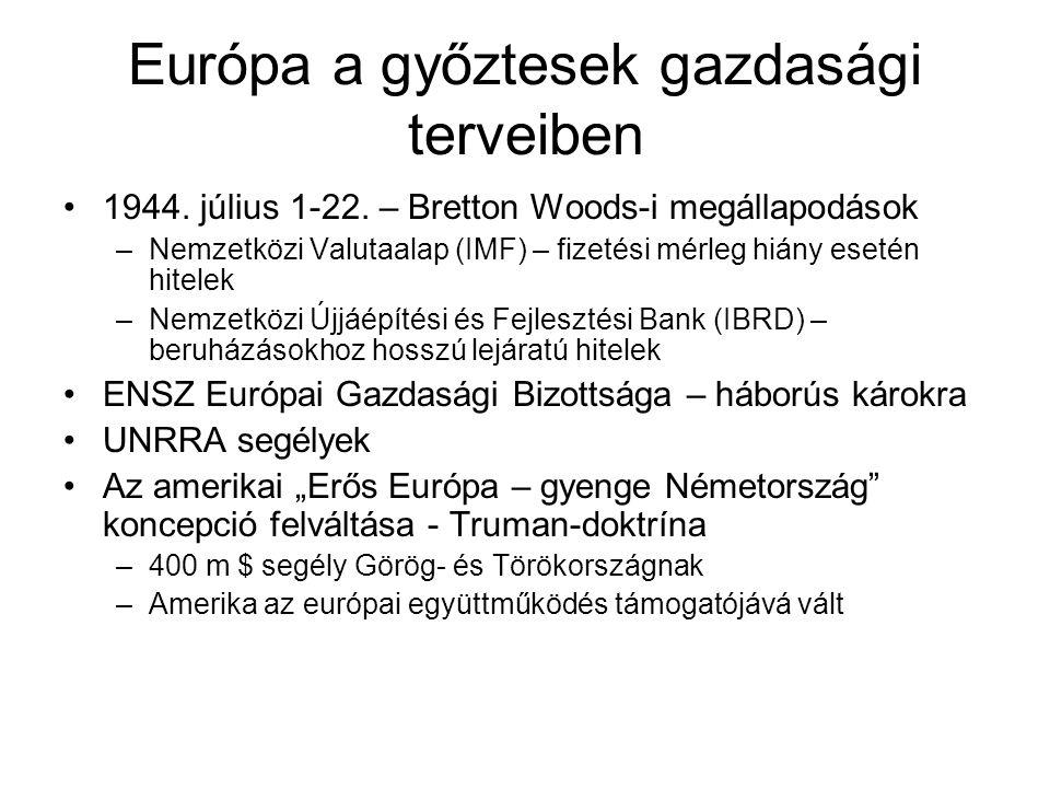 Európa a győztesek gazdasági terveiben