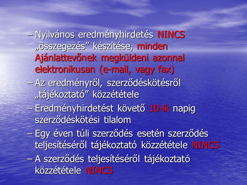 """Nyilvános eredményhirdetés NINCS """"összegezés készítése, minden Ajánlattevőnek megküldeni azonnal elektronikusan (e-mail, vagy fax)"""