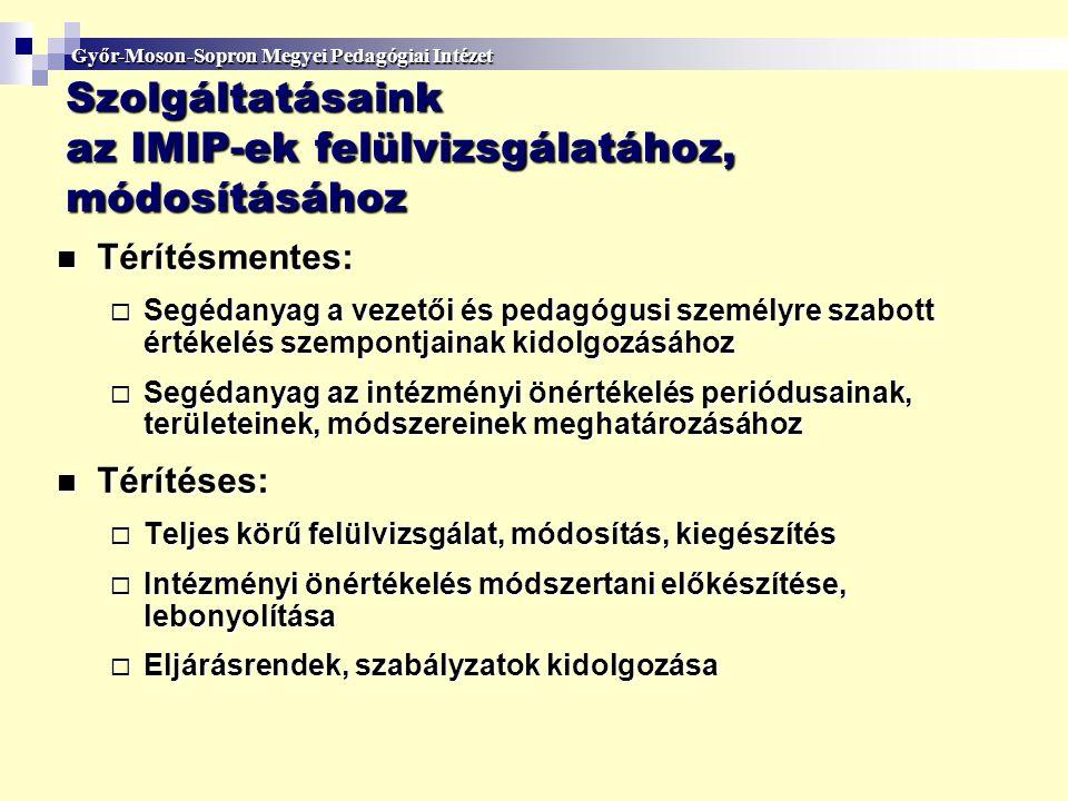 Szolgáltatásaink az IMIP-ek felülvizsgálatához, módosításához