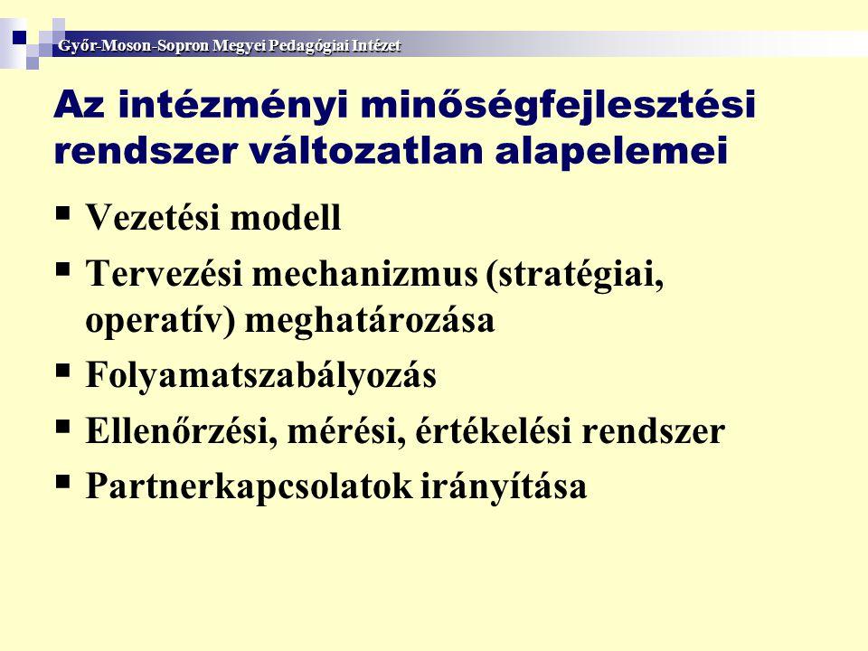Az intézményi minőségfejlesztési rendszer változatlan alapelemei