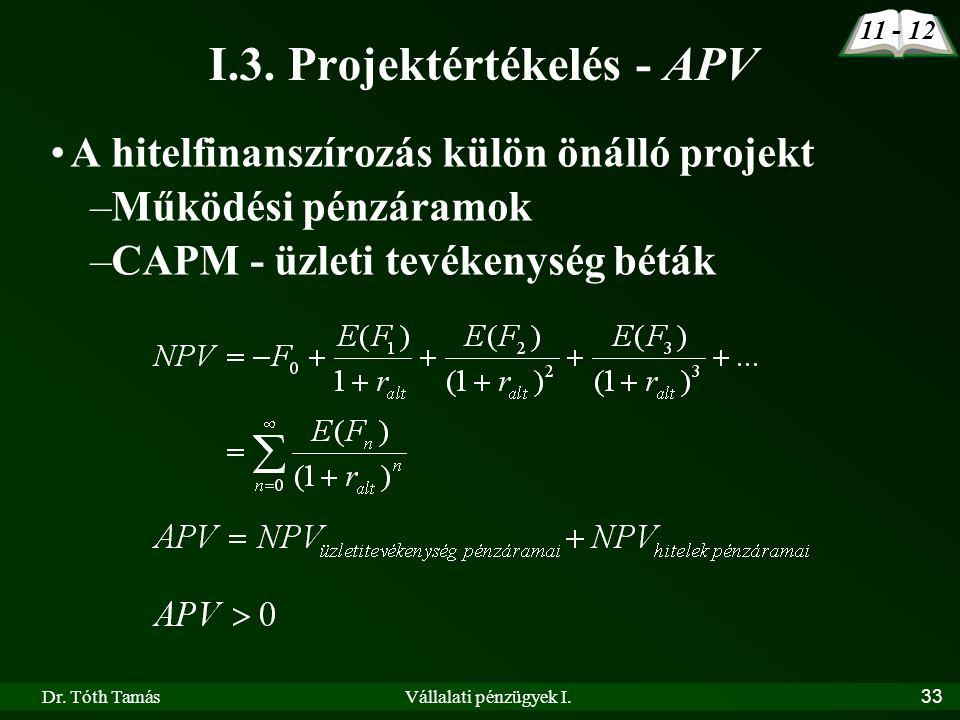 I.3. Projektértékelés - APV