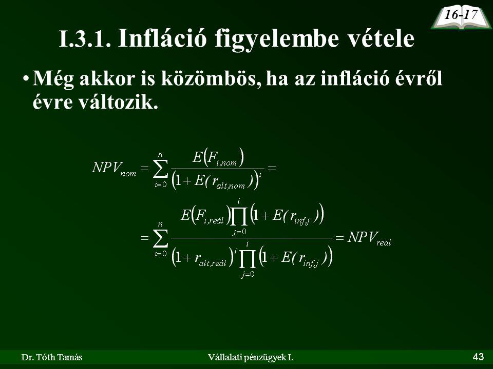 I.3.1. Infláció figyelembe vétele