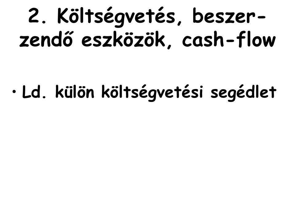 2. Költségvetés, beszer-zendő eszközök, cash-flow