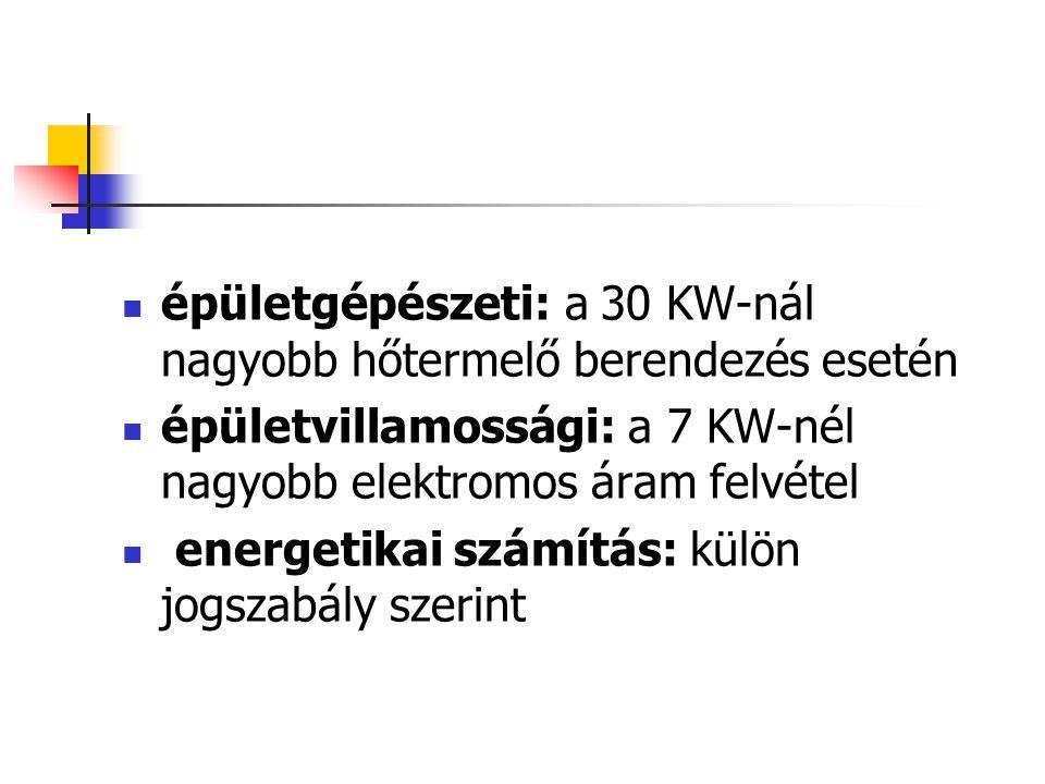 épületgépészeti: a 30 KW-nál nagyobb hőtermelő berendezés esetén