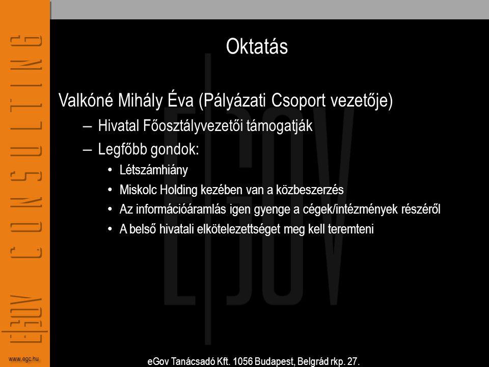 Oktatás Valkóné Mihály Éva (Pályázati Csoport vezetője)