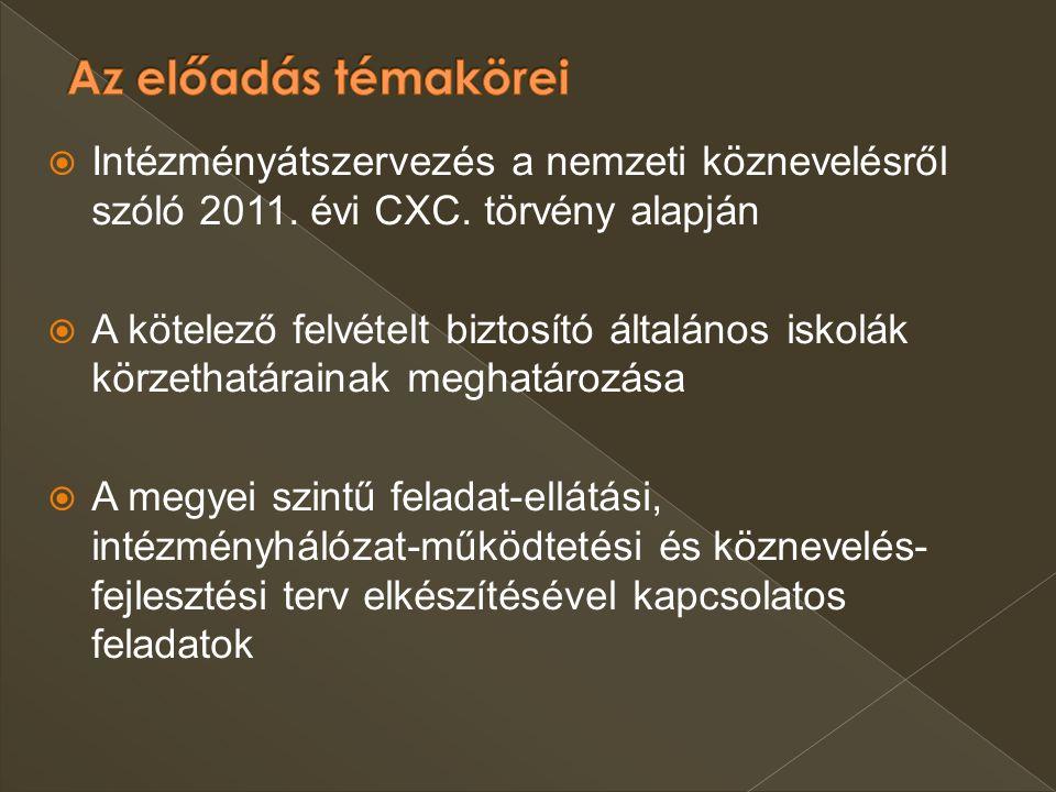 Az előadás témakörei Intézményátszervezés a nemzeti köznevelésről szóló 2011. évi CXC. törvény alapján.