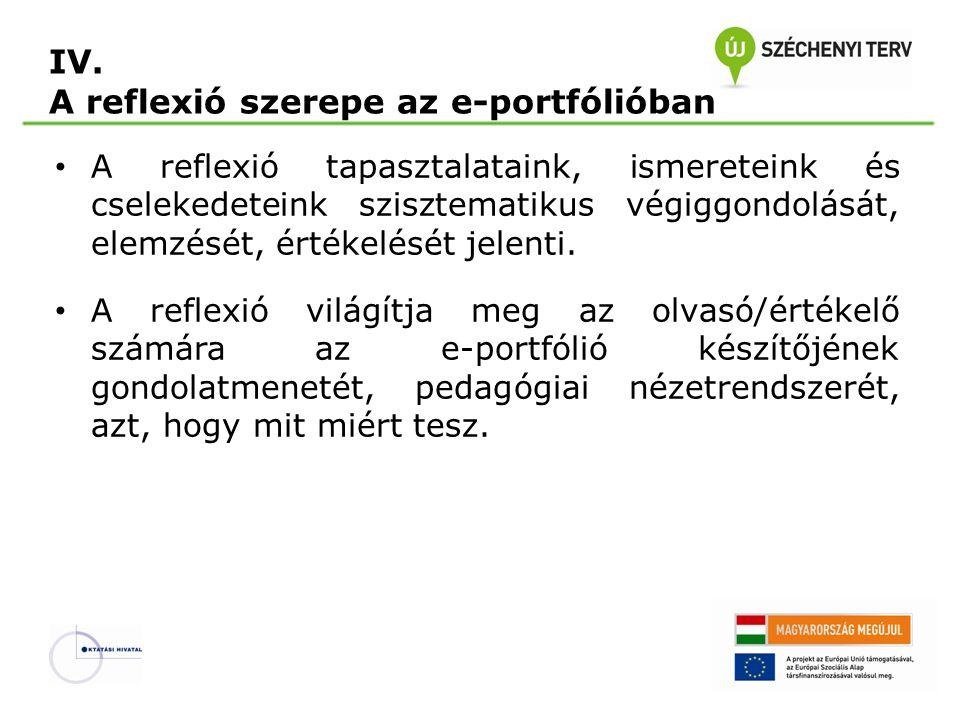 IV. A reflexió szerepe az e-portfólióban