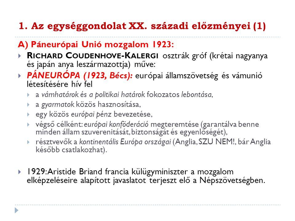 1. Az egységgondolat XX. századi előzményei (1)