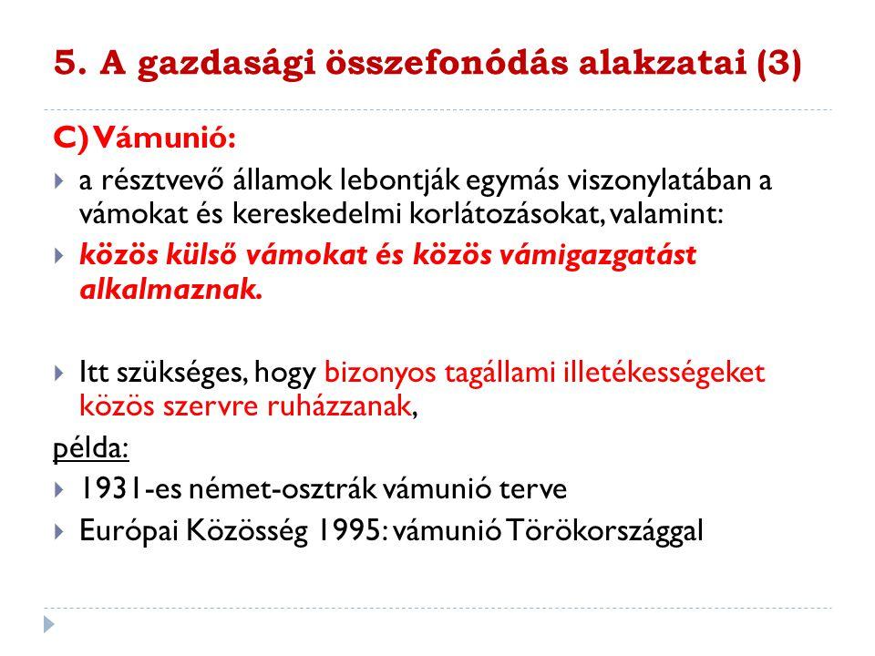 5. A gazdasági összefonódás alakzatai (3)