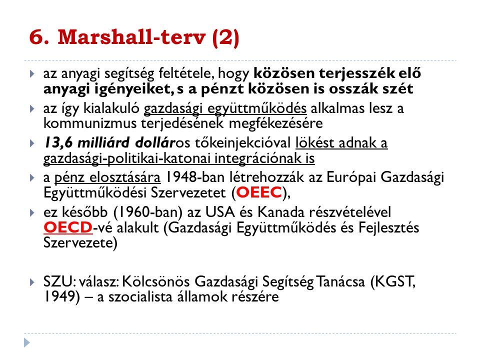 6. Marshall-terv (2) az anyagi segítség feltétele, hogy közösen terjesszék elő anyagi igényeiket, s a pénzt közösen is osszák szét.