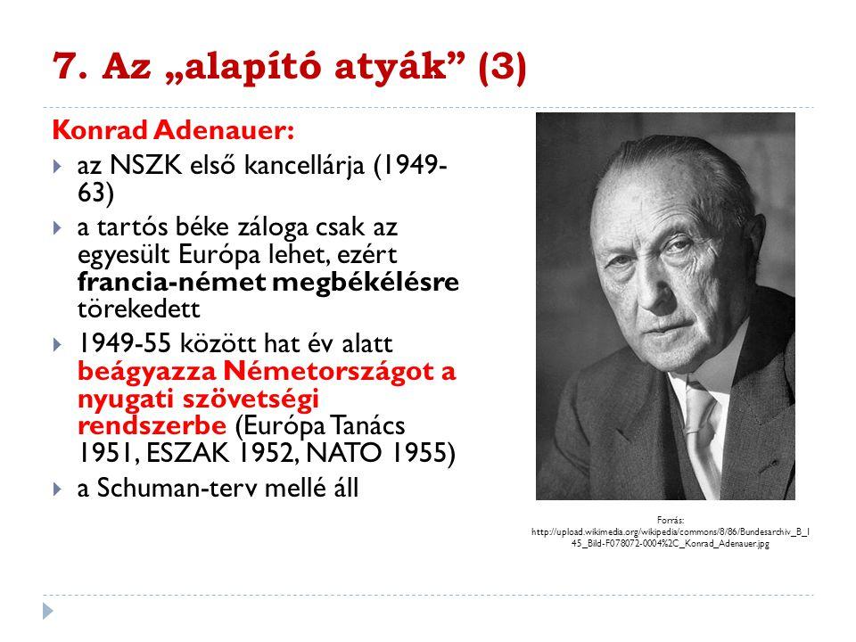 """7. Az """"alapító atyák (3) Konrad Adenauer:"""