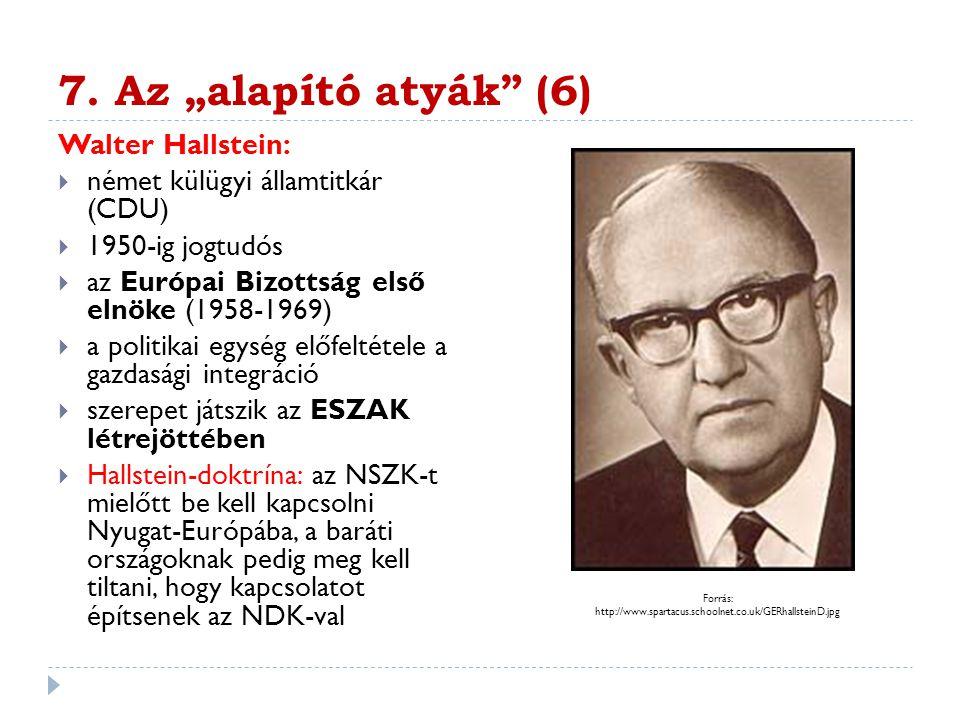 """7. Az """"alapító atyák (6) Walter Hallstein:"""
