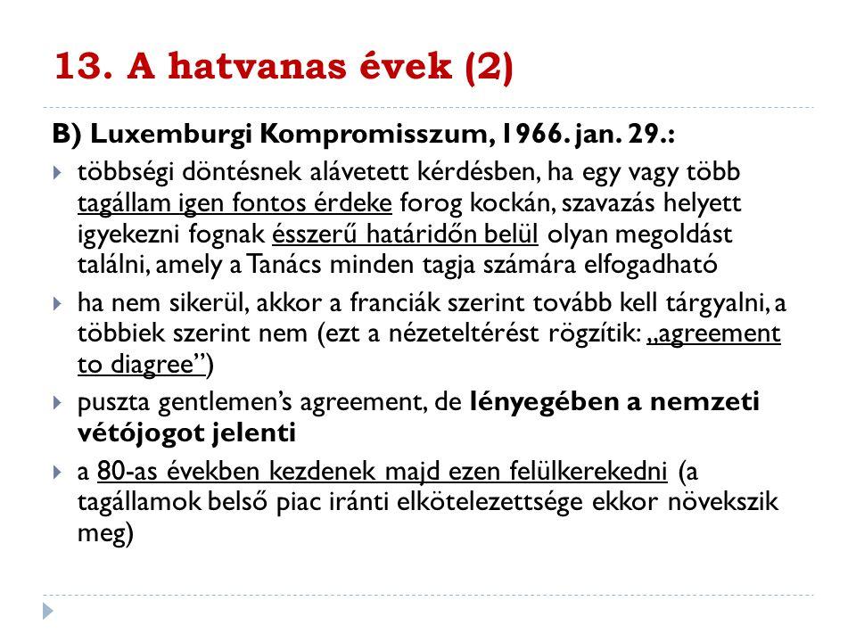 13. A hatvanas évek (2) B) Luxemburgi Kompromisszum, 1966. jan. 29.: