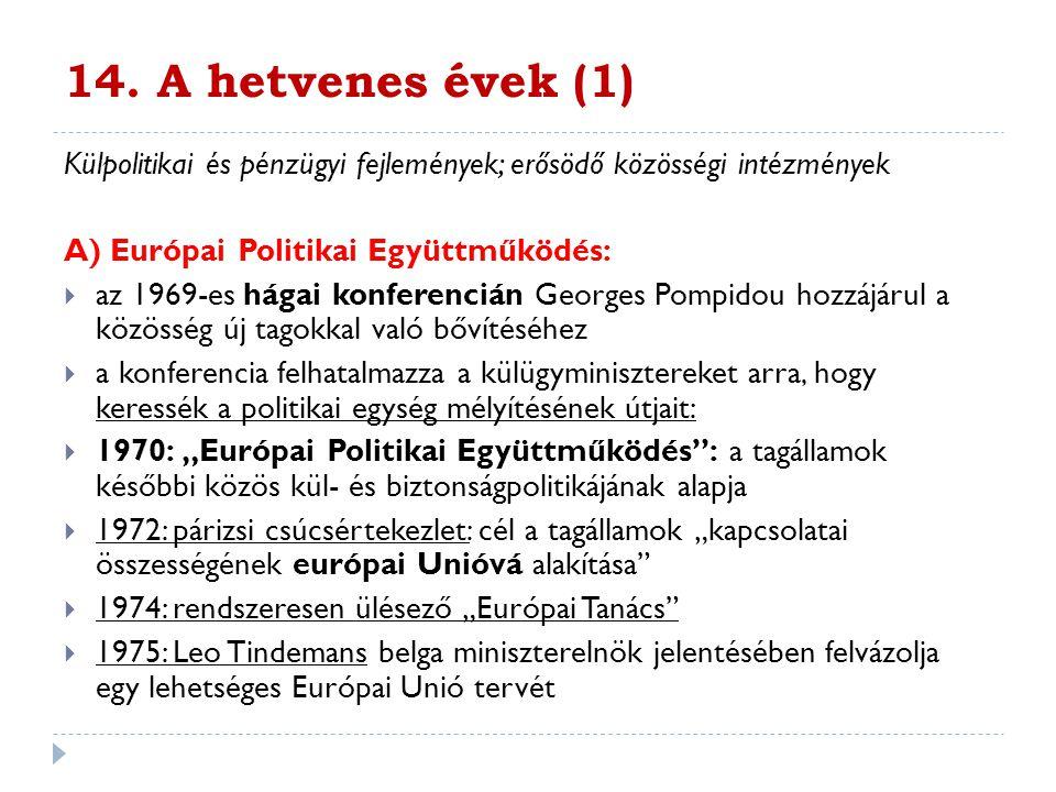 14. A hetvenes évek (1) Külpolitikai és pénzügyi fejlemények; erősödő közösségi intézmények. A) Európai Politikai Együttműködés: