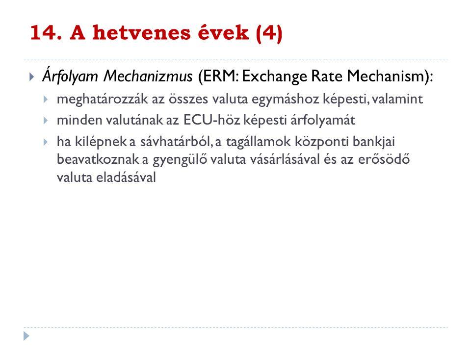 14. A hetvenes évek (4) Árfolyam Mechanizmus (ERM: Exchange Rate Mechanism): meghatározzák az összes valuta egymáshoz képesti, valamint.