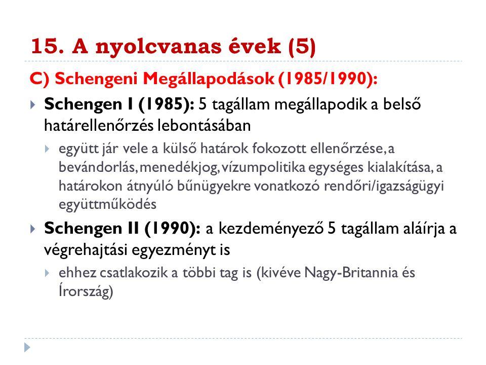 15. A nyolcvanas évek (5) C) Schengeni Megállapodások (1985/1990):