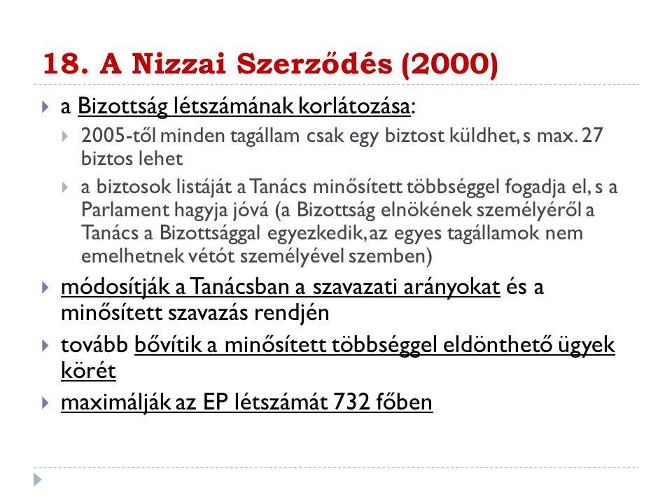 18. A Nizzai Szerződés (2000) a Bizottság létszámának korlátozása: