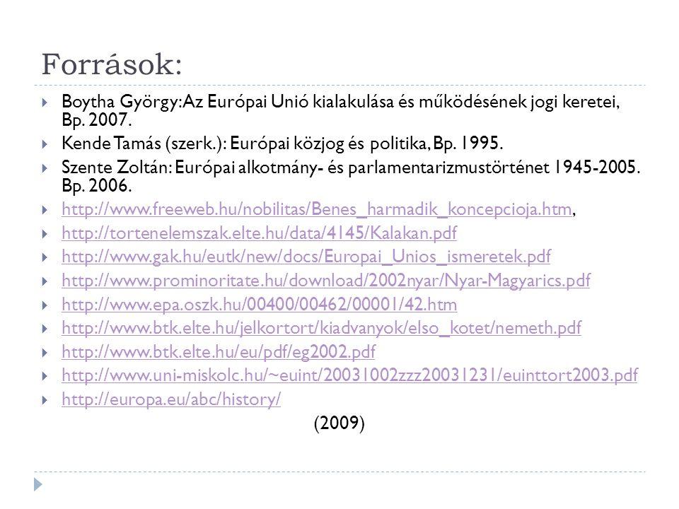 Források: Boytha György: Az Európai Unió kialakulása és működésének jogi keretei, Bp. 2007.