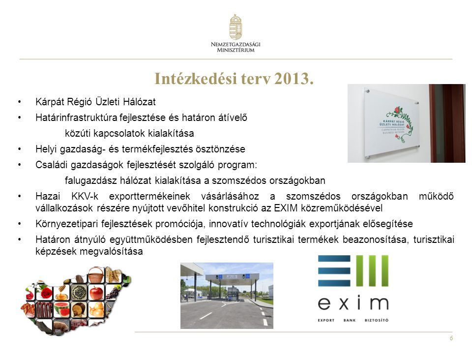 Intézkedési terv 2013. Kárpát Régió Üzleti Hálózat