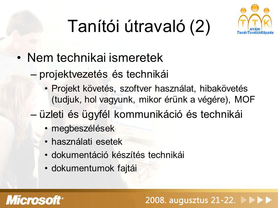 Tanítói útravaló (2) Nem technikai ismeretek