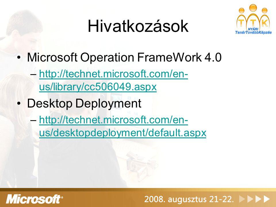 Hivatkozások Microsoft Operation FrameWork 4.0 Desktop Deployment