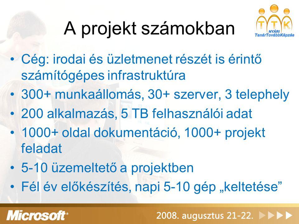 A projekt számokban Cég: irodai és üzletmenet részét is érintő számítógépes infrastruktúra. 300+ munkaállomás, 30+ szerver, 3 telephely.